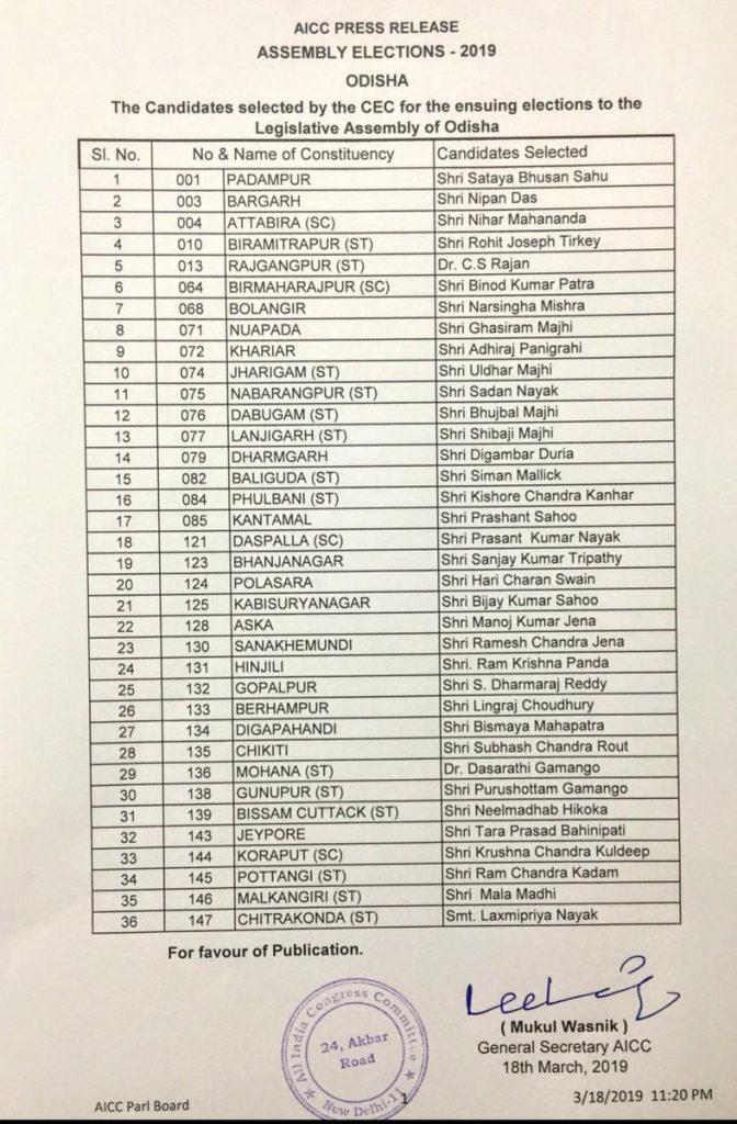 Congress Assembly List